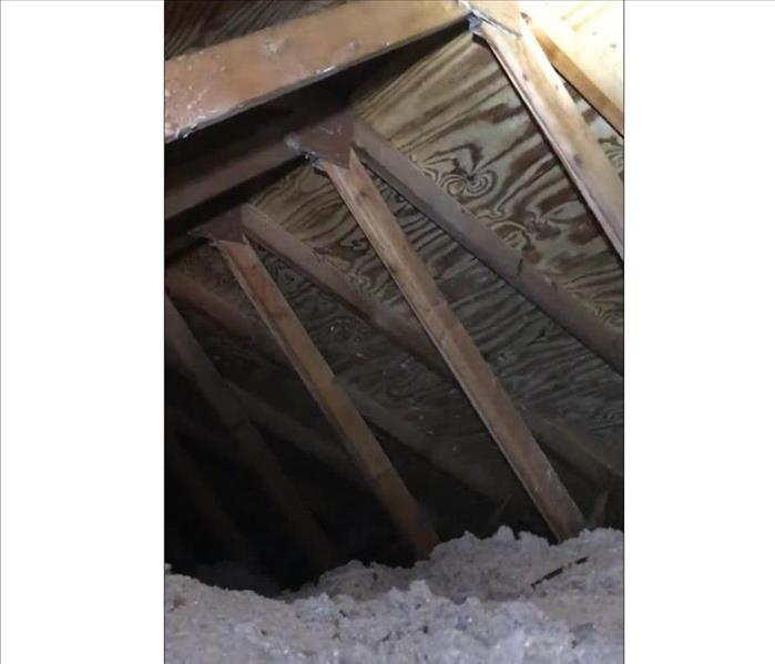 wood sheathing and supports in attic