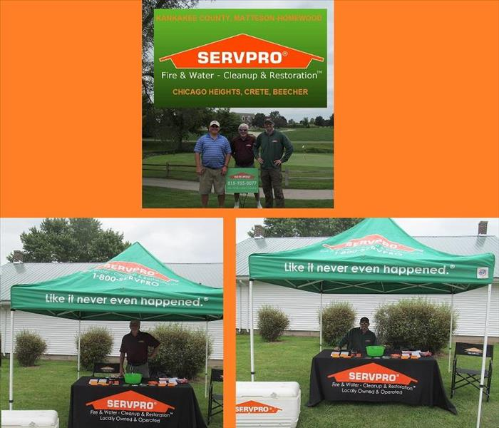 Three photos of male SERVPRO representatives at a golf course
