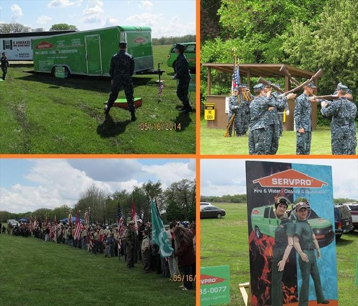 Four photos of SERVPRO representatives and people in military uniform at a park