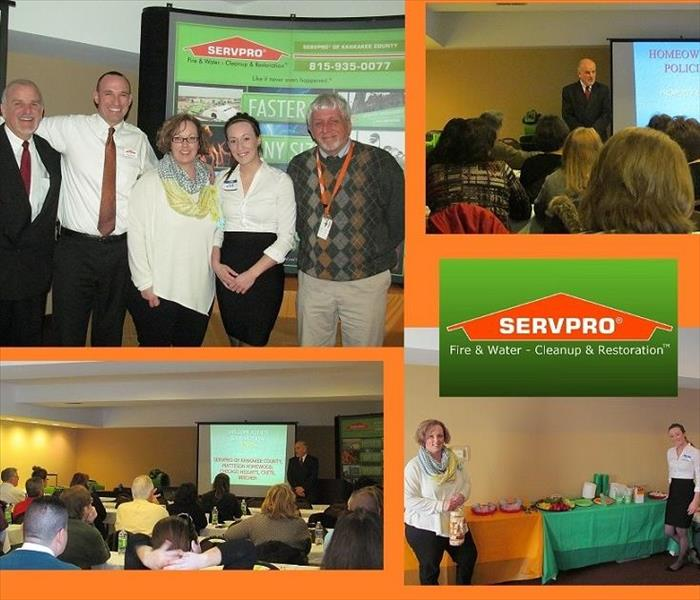 Four photos of SERVPRO representatives and insurance agents at continuing education class