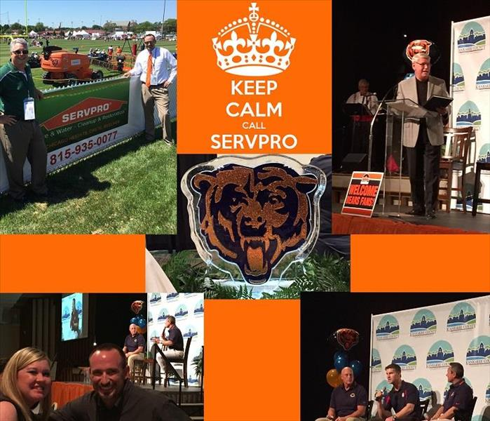 Four photos of SERVPRO representatives and president of Olivet Nazarene University at the Chicago Bears Training Camp