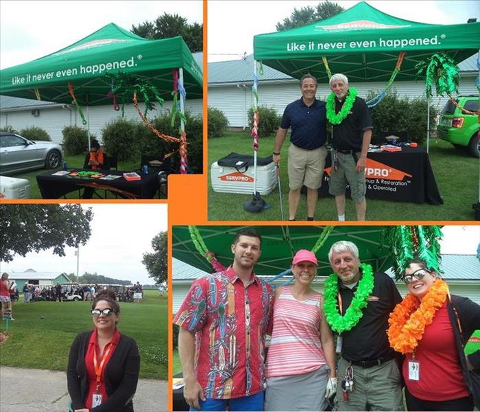 Four photos of SERVPRO representatives at a golf course