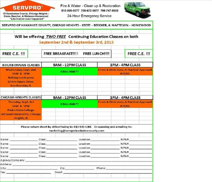 Sign-up sheet for SERVPRO continuing education classes