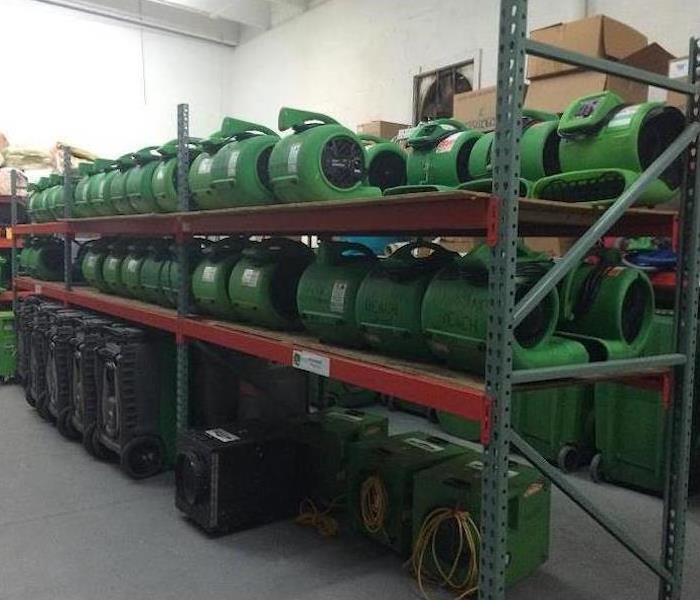 Multiple green fans on shelves in storage room