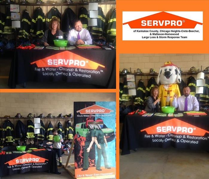 Three photos of SERVPRO table at fire department