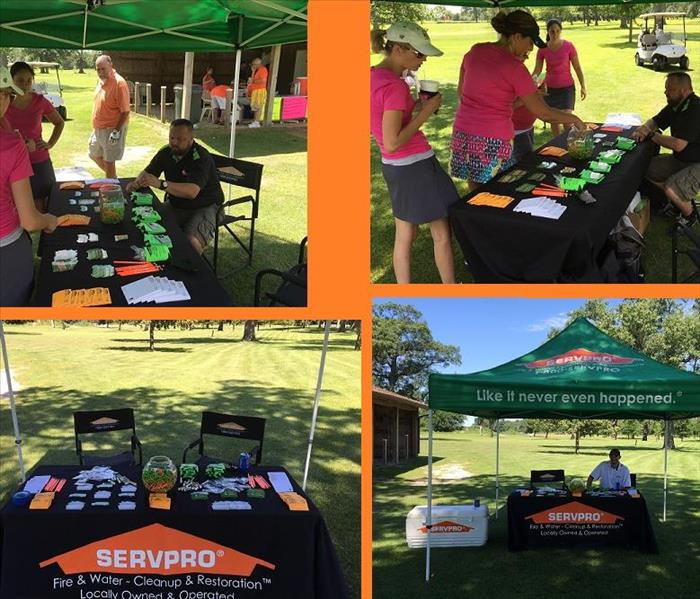 Four photos of SERVPRO table at a golf outing