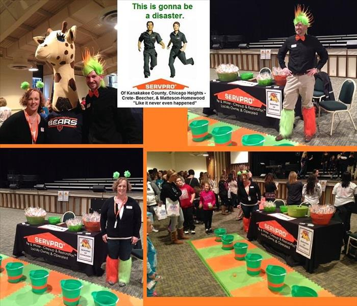 Four photos of SERVPRO table at an event