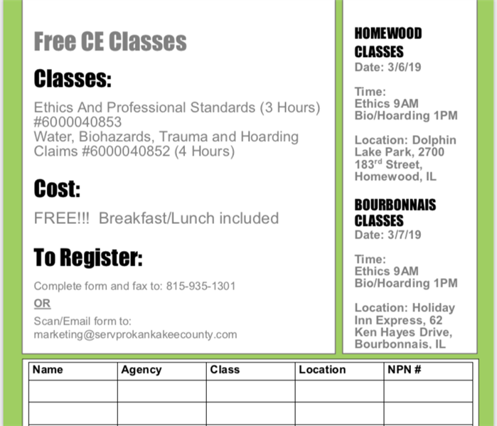 Why SERVPRO FREE CE Classes this March