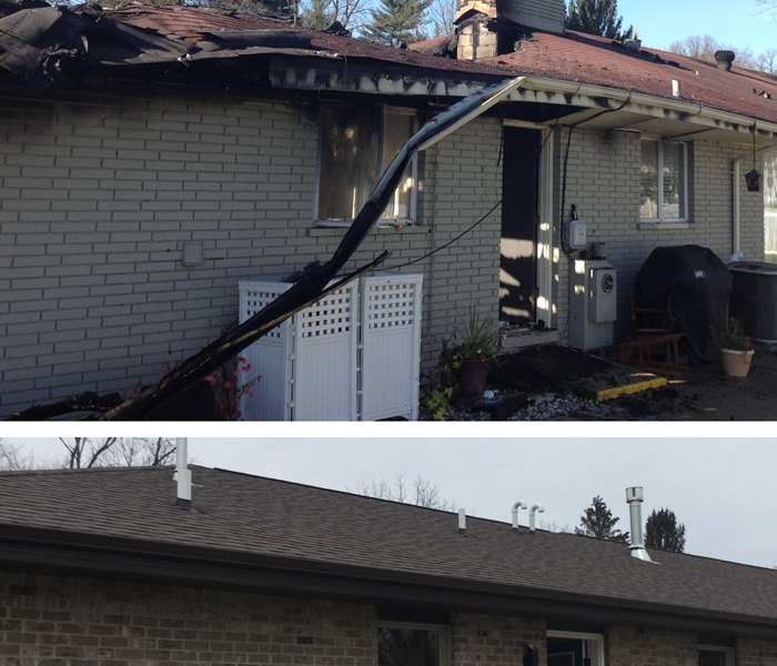 A fire damaged home with burnt roof and then a new roof