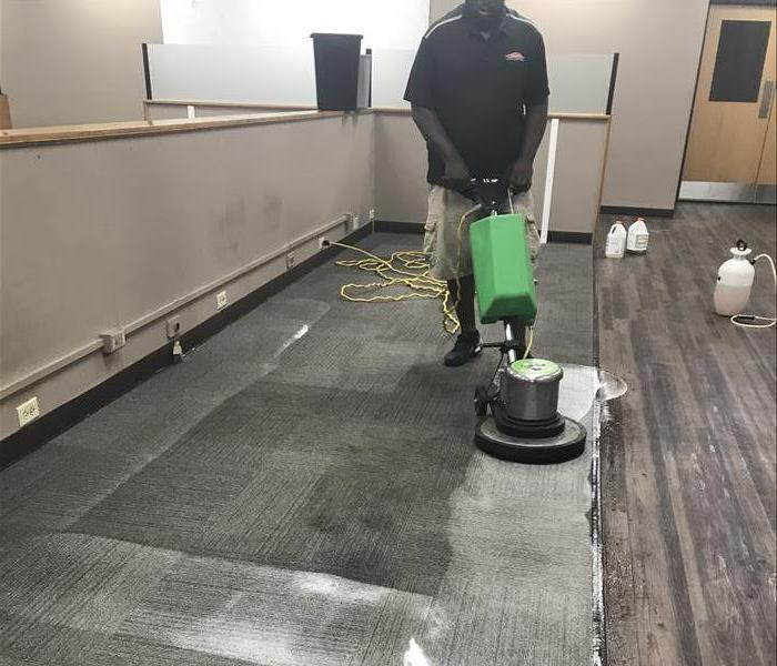 SERVRPO technician cleaning stained carpets in Bradley